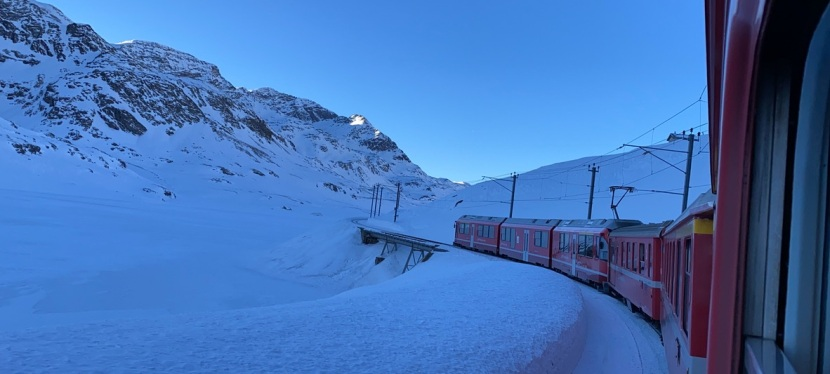 Riding the Bernina Express Train in Switzerland